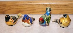 4 Bird Jewelry Trinket Boxes With Hinged Lid Bejeweled Crystals Dept. 56, Beauty