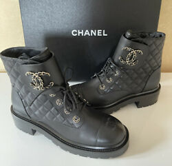 Auth Nib Cc Combat Boots Black Leather Quilted Shoes Brooch Gold Sz 38/ 8