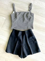 Vintage from '00s Worth Collection Silk Crepe Black And White Stripe Tank Top 4