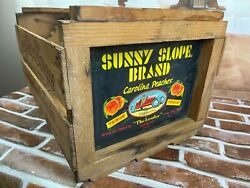 Vintage Sunny Slope Brand Wooden South Carolina Peaches Fruit Crate