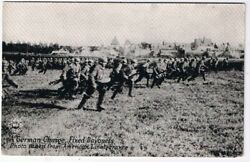 Military Postcard Ww1 German Charge Fixed Bayonets From American Lines Rppc