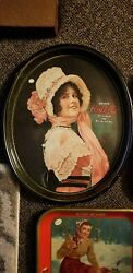 Vintage 1972 Drink Coca-cola Advertising Metal Oval Serving Tray 1914 Betty Girl