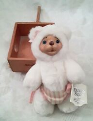 Vintage 7 Raikes Bears Collectible White Teddy Bear / Tags With Wooden Wagon