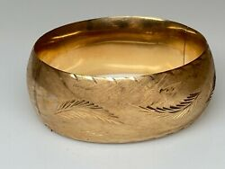 Antique Victorian 14k Yellow Gold Engraved Etched Hinged Bangle Bracelet 35g