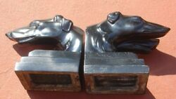 Vintage Art Deco Nuart Creations Nyc Racing Greyhound Dog Bookends Pair Figures