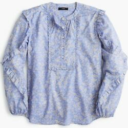 J.Crew Ruffle Sleeve Floral Blouse Shirts Size Small Women $14.99