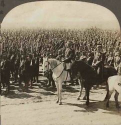 Ww1 Stereoview. A Mass Of Russian Troops With Bayonets Fixed And On Review