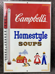 Vintage 1950and039s Campbelland039s Homestyle Soup Thermometer Sign Farmhouse Kitchen Farm