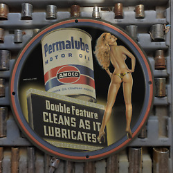 Vintage 1940 Amoco 'permalube' Motor Oil Porcelain Gas And Oil Metal Sign