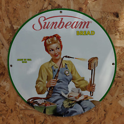 Vintage 1946 Sunbeam Bread Baked Goods Bakery Company Porcelain Gas And Oil Sign