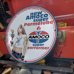 Vintage 1951 Amoco Super Permalube Motor Oil Lubricant Porcelain Gas And Oil Sign