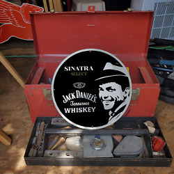 Vintage Jack Daniels Tennessee Whiskey 'frank Sinatra' Porcelain Gas And Oil Sign