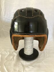 George A. Reach 1930s Vintage Lleather Winged Football Helmet Size 7