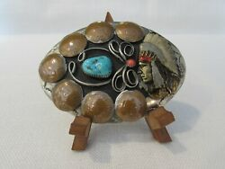 Vintage German Silver Indian Chief Belt Buckle W/turquoise/coral Made In Usa