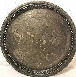 """Vintage Moroccan Persian Footed Brass Silver Plated 12"""" Tray Marked"""