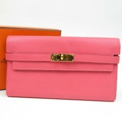 Hermes Paris Kelly Goat Cheese Pink Long Wallet For Women W/ Box Made In France