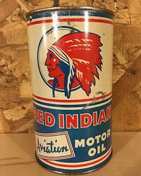 Vintage 1940and039s Mccoll-frontenac Red Indian Aviation Motor Oil Imperial Quart Can