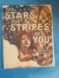 1906 The Stars,stripes And You By Wheeler.rare Music Sheet Cover Only.fire Damag
