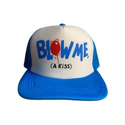 Vintage Funny Trucker Hat Blow Me A Kiss Two Tone Snapback Hat Novelty Humor Cap