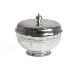 Art Deco Silver Goldsmiths And Silversmiths Heavy Lidded Jar With Chased Detail