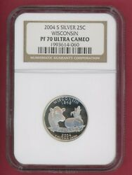 2004 S Wisconsin State Quarter 25c Silver Ngc Pf 70 Ultra Cameo -060