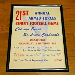 1966 Chicago Bears Vs St Louis Cardinals Armed Forces Benefit Game Framed Poster