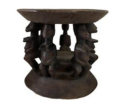Old/rare Dogon Carved Wood Milk Stool W/ Nommos Figures Mali 10 H By 11.5 D