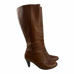 Seychelles Cognac Leather Knee High Full Zip Heeled Boots Size 8