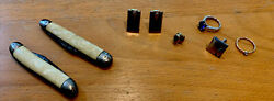 Junk Drawer Lot Antique Army Knives, Nefrite Jade Pin, Cuff Links, Rings