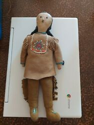 Antique Buckskin Face Beaded Leather Native American Indian Squaw Doll