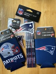 New England Patriots Nfl Gift Bundle Decal, 5 Pencils Set Can Coolers Key Ring