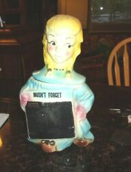 Rare Vintage American Bisque Chalkboard Girl Cookie Jar 13 1/2 Tall 1940/50and039s