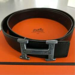 Hermes Touareg H Black Silver Size 85 Calf Leather Belt With Bag Buckle And Box