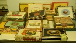 Lot Of 17 Vintage Wooden Empty Cigar Boxes Lots Of Different Brands Vg