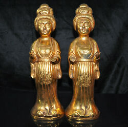 13.6 Chinese Ancient Dynasty Bronze Gilt Maid Beauty Attendant Servant A Pair