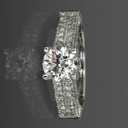 Accented Diamond Ring Round 2 Ct 18k White Gold 4 Prongs Colorless Size 4.5 - 9