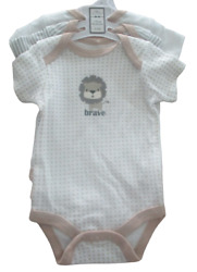 Nwt Mini Muffin 3 Pc Short Sleeve Bodysuit 0-3 Mth Infant Baby Boy Brave Strong