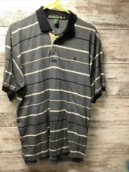 Knights Of Round Table - Gray Striped S/s Polo Shirt - Men's Size Xl