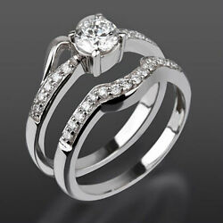 1.39 Ct Matching Band Set Diamond Ring 14k White Gold Solitaire + Side Stones
