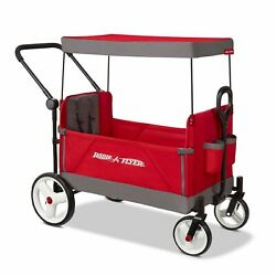 Radio Flyer Convertible Stroller Wagon With Canopy Push Pull - Red
