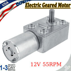Dc 12v Gear Reduction Motor Worm Reversible Torque Turbo Geared Motor 55rpm Us
