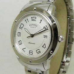 Hermes Cp2.810 Clipper White Dial Automatic Menand039s Silver Watch Swiss Made