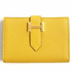 Hermes Bearn Compact Goat Gold Metal Fittings Yellow Folded Card Made In France