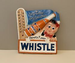 Rare Vintage Whistle Soda Advertising Chalkware Thermometer Sign 1950andrsquos