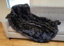 Barguzin Russian Sable Real Fur Throw Twin Blanket Coat Cashmere Lining