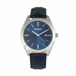 Breed BRD7903 Louis Leather Band Watch with Date Silver Blue $84.55