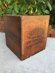 Old Wood Medicine Bottle Crate New York Pharmacal Association Box Lactopeptine