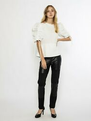 Gracia Shirring Detail With Side Sleeves Black Top - Size S