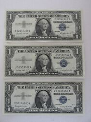 Lot Of 3 1 Silver Certificate Uncirculated 1957/1957a/1957b 9