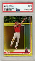 2019 Mike Trout Topps Yellow Walgreenand039s Version 100 Psa 9 0931